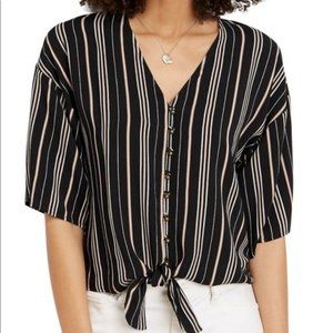 Maurices black stripe tie-front short-sleeve top